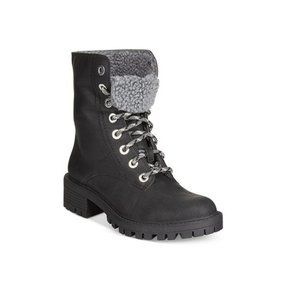 Bar lll lace up faux fur combat booties Size 5